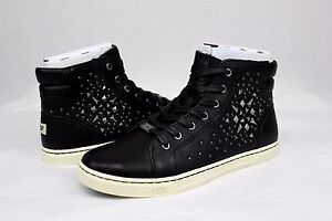 Image is loading UGG-GRADIE-DECO-STUDS-LEATHER-BLACK-HIGH-TOP-
