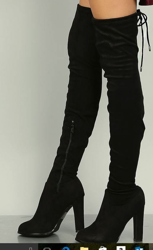 Black GOGO-13L DBDK Women Faux Suedette Thigh High Boots Very Sexy