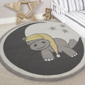 Image Is Loading Childrens Grey Ochre Soft Hippo Baby Circle Rugs