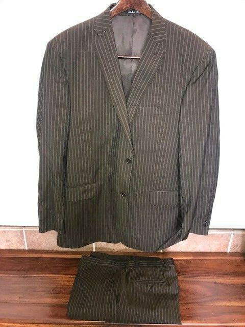 Giannetti Piero Mens Brown Stripe 2 Button 100% Wool 2PC Suit 42R 36W Pant 36x30