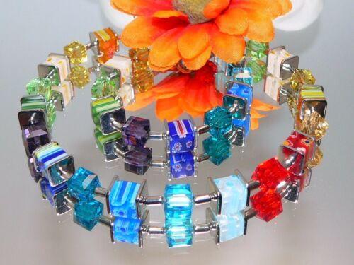 Halskette Würfelkette Perlen Glas Millefiori mehrfarbig multicolor bunt 098w