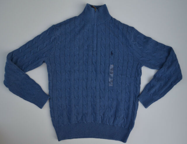 Mens Polo Ralph Lauren Cable Knit Sweater M Medium Blue 12 Zip