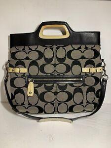COACH-Bonnie-Signature-Purse-FOLDOVER-SATCHEL-SHOULDER-BAG-M0873-13386-Black