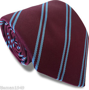 Club-Tie-West-Ham-United-Utd-Burnley-FC-Football-Claret-Maroon-Sky-Blue