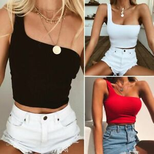 Color-Casual-Yoga-Vest-Women-Single-Strap-Bra-Tube-Crop-Top-Single-Shoulder