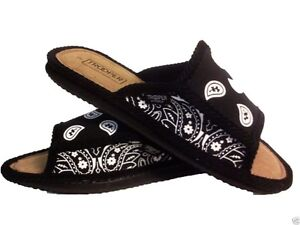 36941205041c BLACK AND WHITE BANDANA HOUSE SHOES SLIPPERS TROOPER BRAND NEW OPEN ...