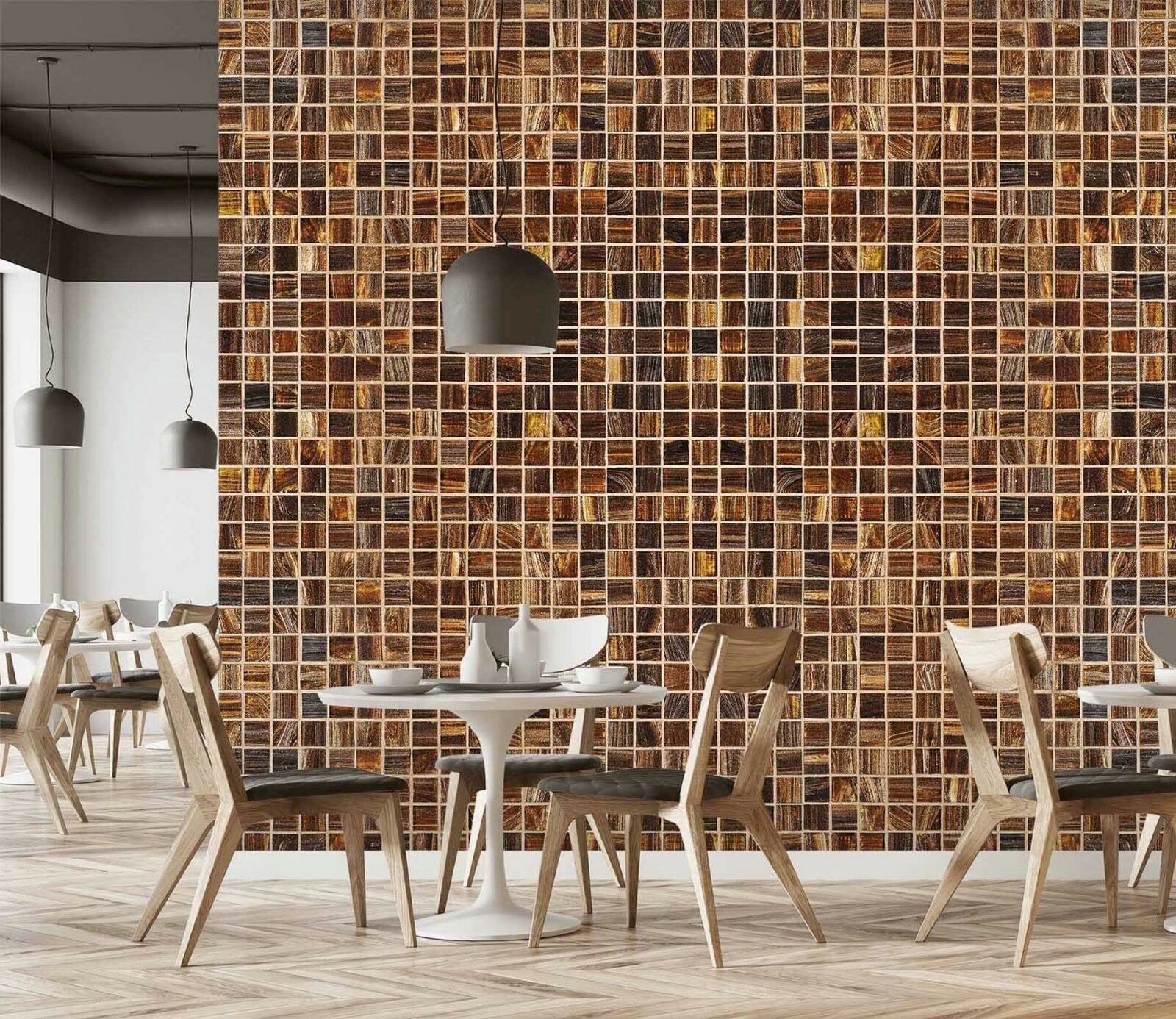 3D Brown Squares Lattice 1 Texture Tiles Marble Wall Paper Decal Wallpaper Mural