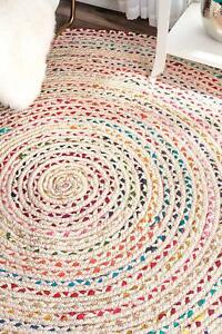 Braided Round Chindi Area Rag Rugs