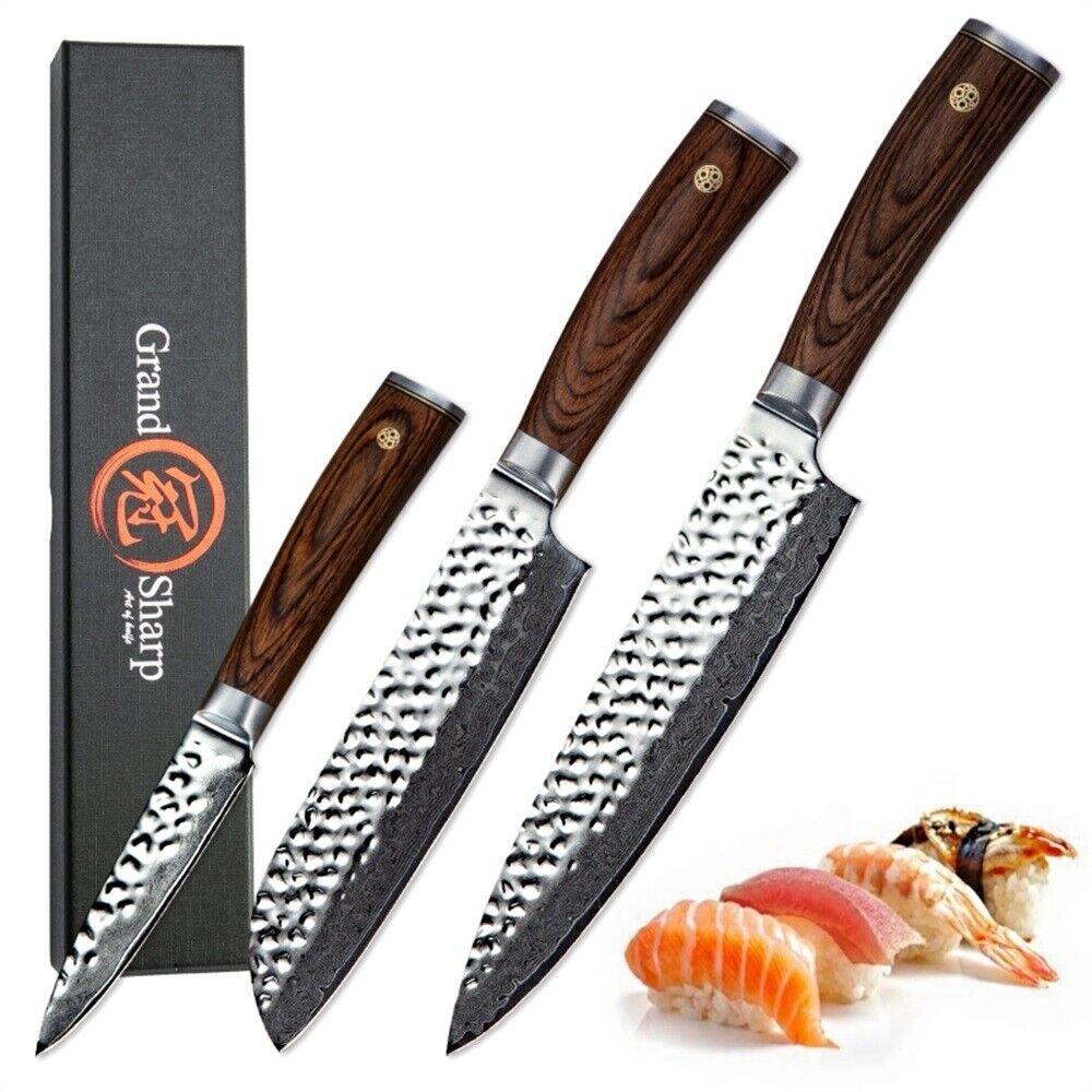 3 Pcs Knife Set Damascus Kitchen Knives Chef Santoku Paring Knife Japanese vg10