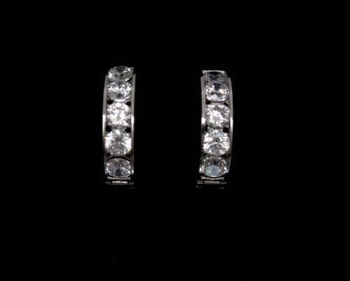 14K Solid White Gold Round Channel Set Created Diamond Huggie Earrings 1TCW