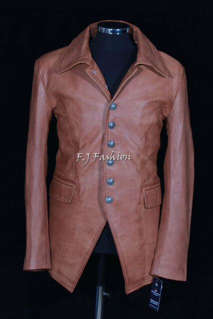 Lucifer Tan Waxed Men's Gothic Styled Smart Sheep Leather Blazer Shirt Jacket