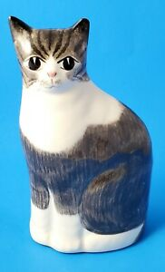 "Vintage N S Gustin Ceramic White & Gray  Handpainted 8.5"" Tall Cat Figurine~USA"