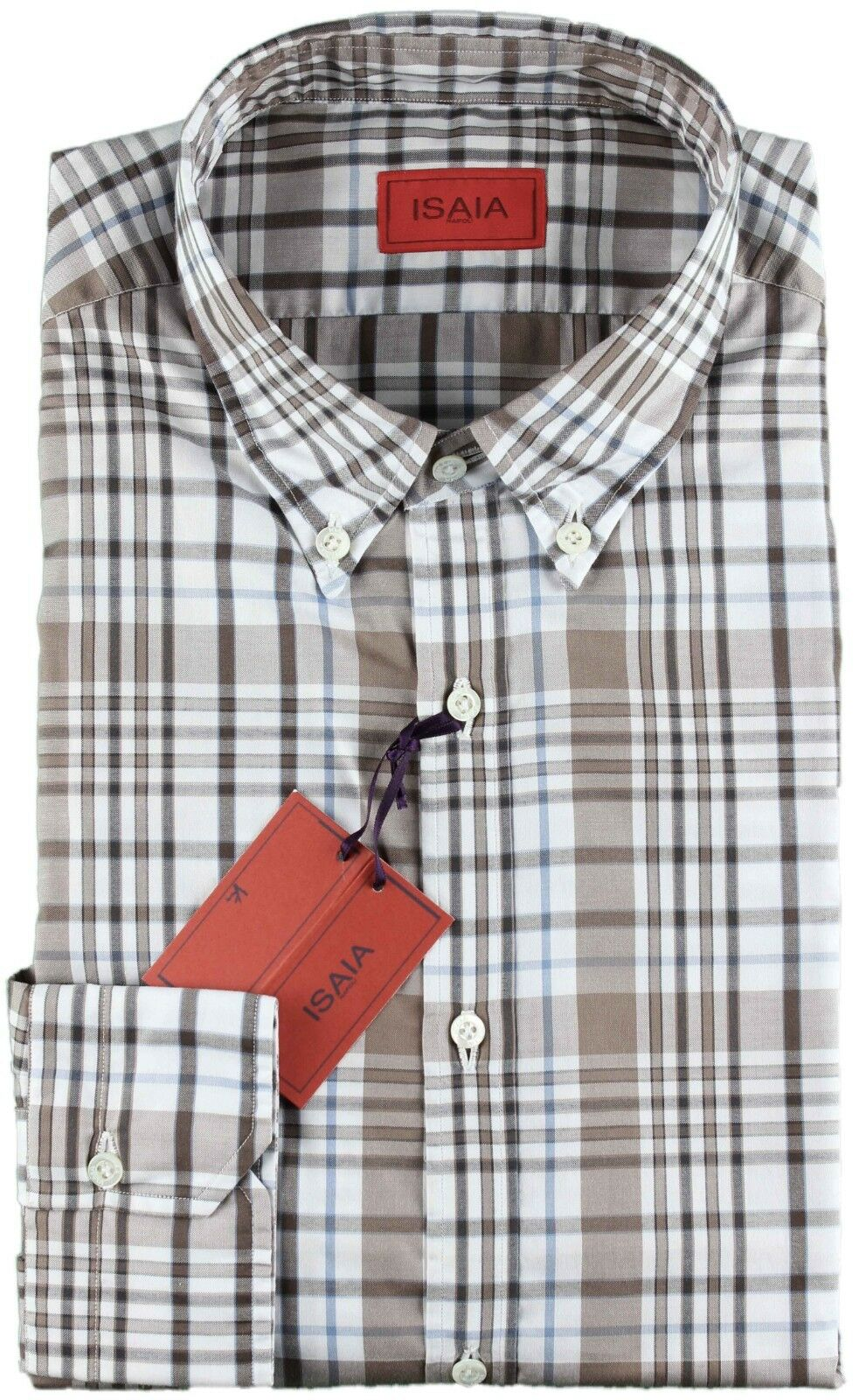 NWT ISAIA SHIRT white, beaver & bluee checked luxury handmade  43 17 SLIM