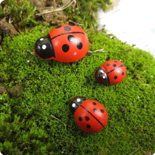 100x Mixed Ladybird Mini Self Adhesive Wooden Ladybugs Craft Card Wood Products