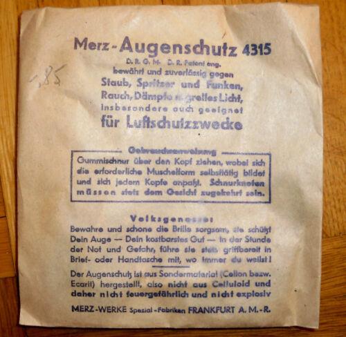 Brille Luftschutz Merz Augenschutz 4315-2 Weltkrieg Bombenkrieg WWW2
