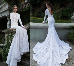 22a791456fe Image is loading Sexy-Mermaid-Long-Sleeve-Backless-Lace-Wedding-Dresses-