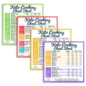 Set of 4 Magnet Excellent Fridge Reference F Keto Cooking Cheat Sheet Magnets