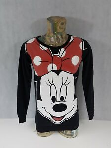 Disney-Minnie-Mouse-Ladies-Top-Size-10-Long-Sleeve-Sweatshirt-Black-lt-A3-3-gt