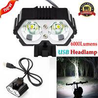 6000LM 2x CREE XM-L T6 LED USB Waterproof Lamp Bike Bicycle Headlight Headlamp