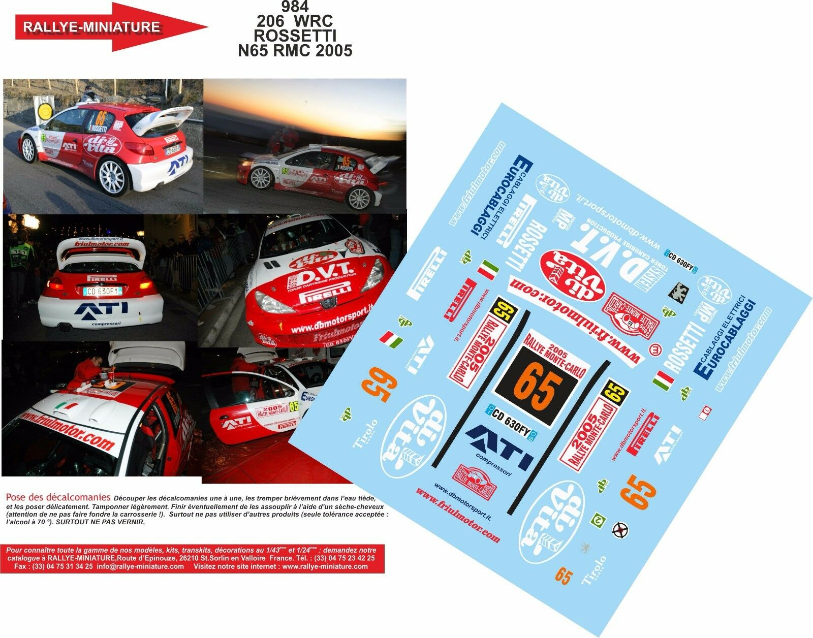DECALS 1//18 REF 520 PEUGEOT 206 WRC MARCUS GRONHOLM RALLYE MONTE CARLO 2003