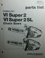Homelite Xl, Super 2 & Vi Sl Chain Saw Parts Manuals (5 Books) 40pg Chainsaw