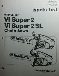 Image Is Loading Homelite Xl Super2 Amp Vi Sl Chain Saw