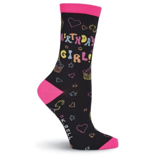 K.Bell Womans Birthday Girl Socks Black Hot Pink Cotton Blend Crew Socks New
