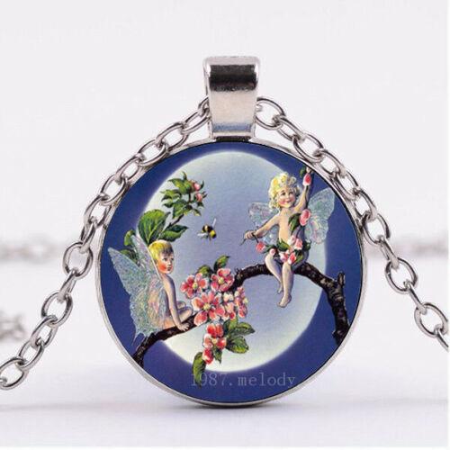 Cabochon Verre Collier Silver Charm pendentif Bijoux ( Fairy Baby ) A-71