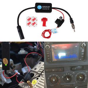 12V-Auto-Car-Antenna-Aerial-Radio-FM-Signal-Amp-Amplifier-Booster-80-108MHz-UK