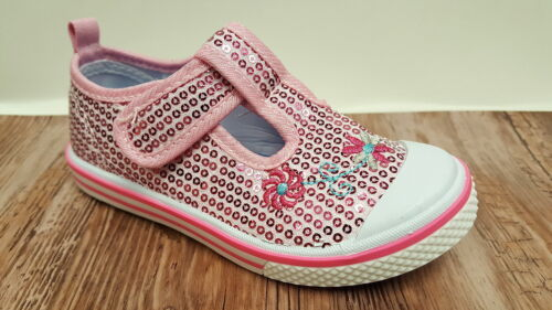Girls Canvas Shoes Plimsolls Plims Pink Silver Bar Summer Strap Sparkly Bling