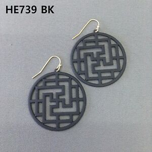Gold Dangle Earrings with BlackYellow Color Block Circle Shape with Floating Pie Shape
