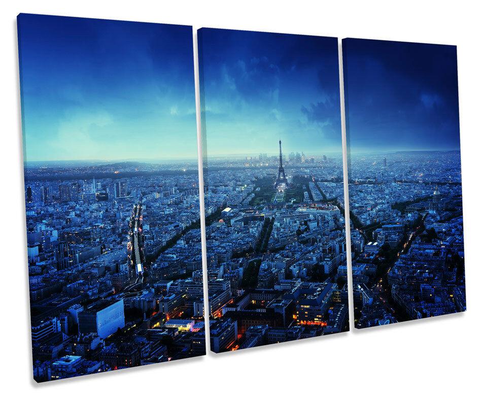 PARIS SKYLINE SKYLINE SKYLINE CITY BLU TRAMONTO CANVAS Wall Art triplicare la casella stampa cornice 8882fc
