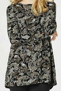 NEW-J-JILL-S-M-L-XL-L-S-Shirred-back-Knit-Top-Tunic-Cotton-Paisley-Beige-Black