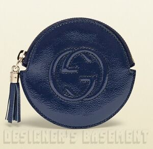 bbf9749eae9139 GUCCI blue Patent Leather SOHO Interlocking G zip pouch COIN Purse ...