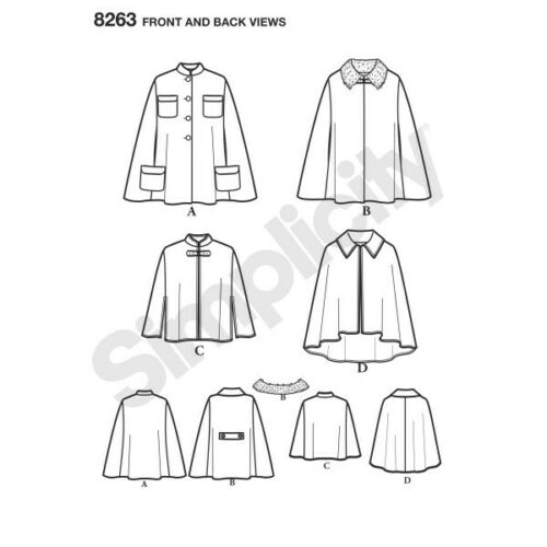 Simplicity sewing pattern 8263 Femme Poncho Cape Mantes capelets