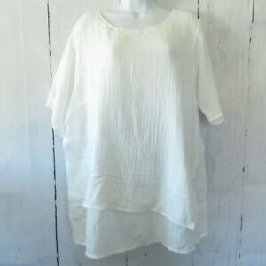 New-Joan-Rivers-Top-XL-X-Large-White-Textured-Crinkle-Layered-Lagenlook-QVC