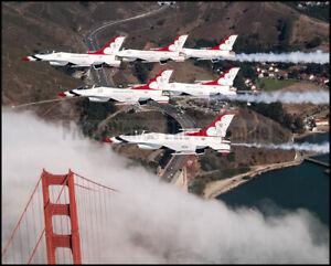 USAF-F-16-Thunderbirds-6-Ship-Delta-San-Francisco-2018-8x10-Photos