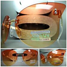 VINTAGE RETRO SHIELD FLAT RIMLESS CAT EYE Style SUNGLASSES Light Red Yellow Lens