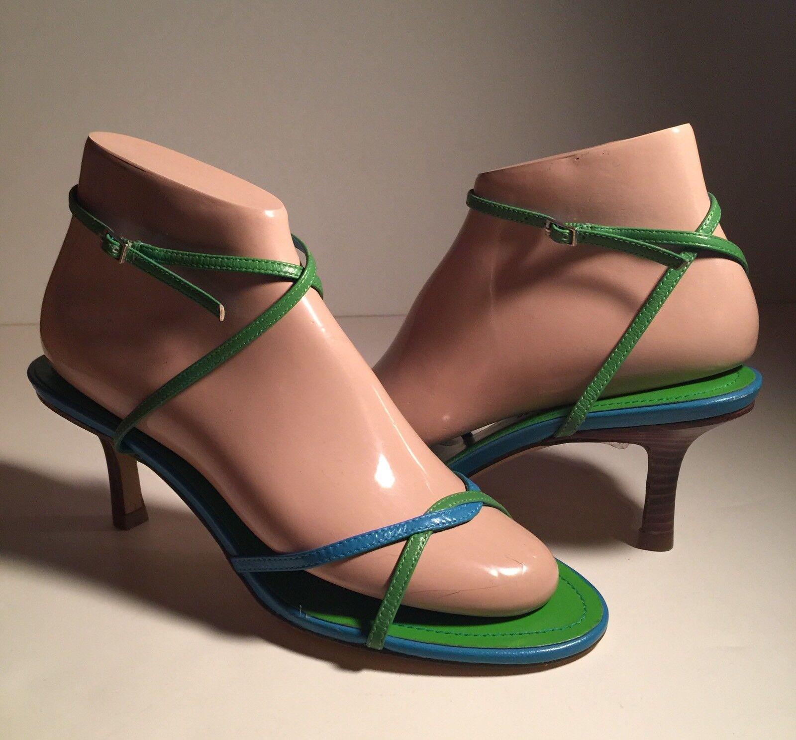 "Vtg Tommy Hilfiger Strappy Women Strappy Hilfiger Sandal Ankle Strap Green Blue 3""heel  Sz 7M New 21ea88"