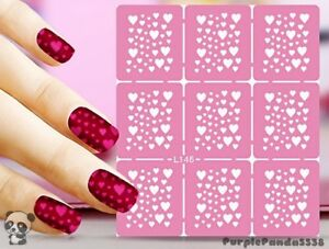 Image Is Loading Nail Art Decal Stencil Stickers Heart Cer Stencils