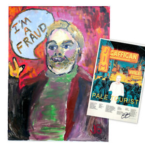 Jim-Gaffigan-Signed-034-I-039-m-a-Fraud-Painting-034-red-and-034-Pale-Tourist-034-Poster
