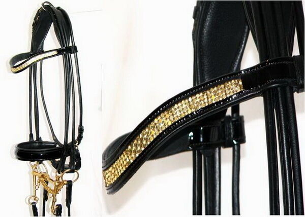 FSS SHINING Curve U gold CRYSTAL BLING Rolled DOUBLE Comfort PATENT Brass Bridle