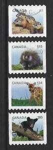 Kanada-2013-Jung-Tieren-Set-Mit-4-Spule-Briefmarken-Fein-Gebraucht