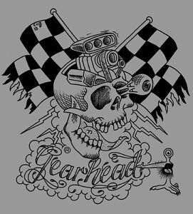 Gearhead Motorskull Mens T Shirt Hot Rod Punk Rock Greaser Tattoo