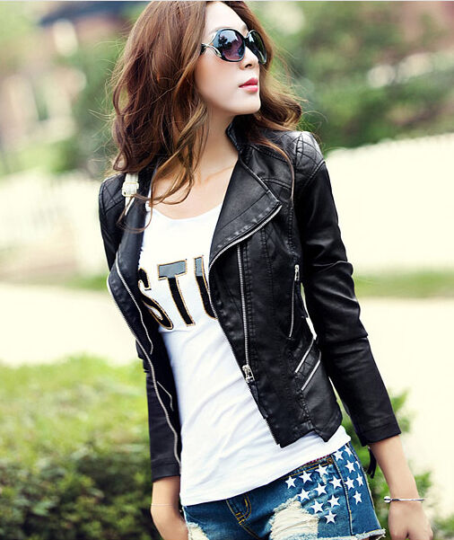 Women's jackets short Slim Motorcycle leather jacket coat outwear fashion BJHT