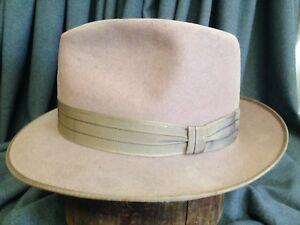 aa5b885bf47 Vintage Popular Coney Fur Felt Mens Rose Brown Fedora Hat -- Size 7 ...