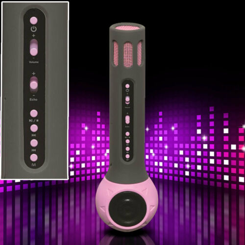 Karaoke Mikrofon Bluetooth Kinder Party Musik USB SD Lautsprecher AUX Pink