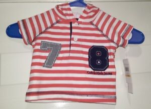 Calvin-Klein-Jeans-NWT-Boys-Red-White-Striped-Hooded-Shirt-Top-Size-0-to-3-Month