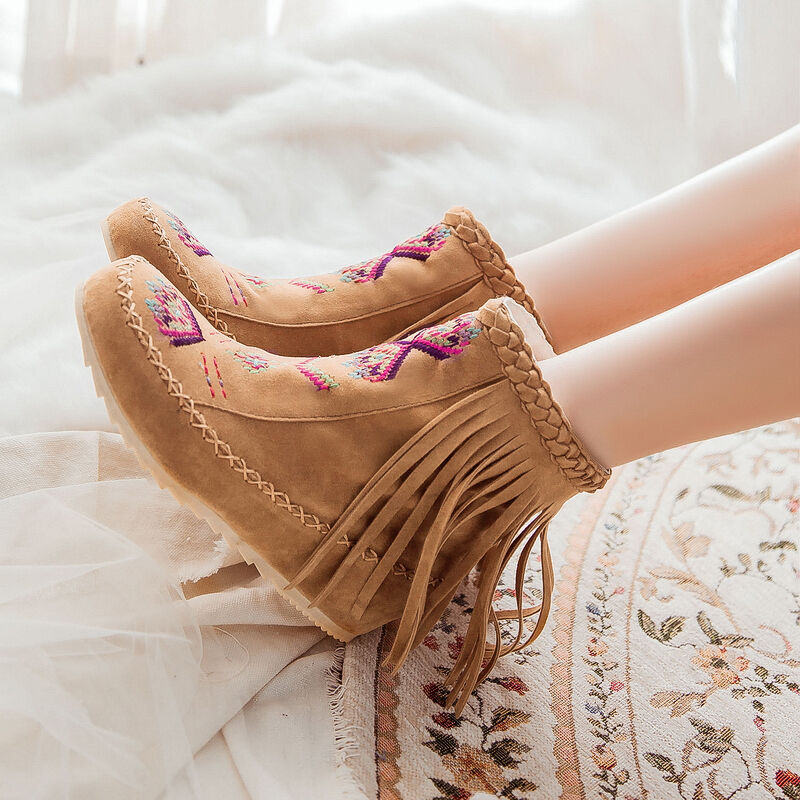 Fashion Womens Boho Tassle Hidden Wedge Moccasin Ankle Boots shoes Warm Winter