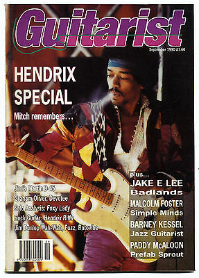 GUITARIST Magazine Sep 1990 Jimi Hendrix Special Simple Minds Barney Kessel